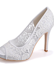 cheap -Women's Wedding Shoes Stiletto Heel Peep Toe Lace Minimalism Spring & Summer Black / White / Ivory / Party & Evening