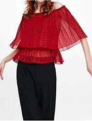 cheap -Women's Polka Dot Shirt Daily Off Shoulder Red