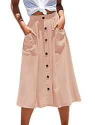 cheap -Women's A Line Skirts - Solid Colored Blushing Pink Army Green Navy Blue S M L