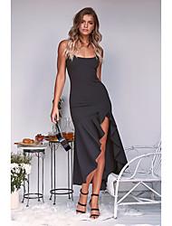 cheap -Women's A Line Sheath Dress - Maxi Solid Color Black White Blushing Pink S M L XL
