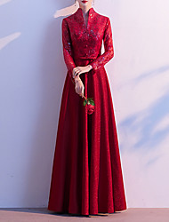 cheap -A-Line Chinese Style Red Party Wear Formal Evening Dress High Neck Long Sleeve Floor Length Sequined with Buttons Embroidery 2020