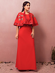cheap -A-Line Chinese Style Red Engagement Formal Evening Dress Jewel Neck Half Sleeve Floor Length Spandex with Sequin Embroidery 2020