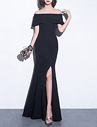 cheap -Mermaid / Trumpet Off Shoulder Floor Length Spandex Sexy / Black Prom / Formal Evening Dress with Split 2020