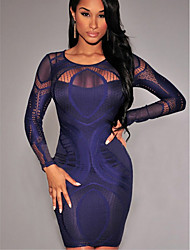 cheap -Women's Bodycon Dress - Print Black White Blue S M L XL