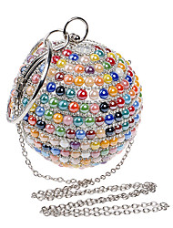 cheap -Women's Bags Polyester Alloy Evening Bag Crystals Chain Color Block Solid Color Wedding Bags Wedding Party Event / Party White Blue Red Champagne