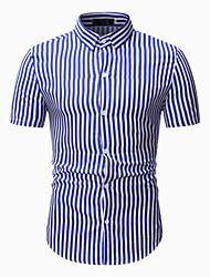 cheap -Men's Daily Basic Shirt - Striped Blue & White / Black & White, Print Black