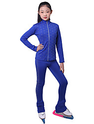 cheap -Over The Boot Figure Skating Tights Figure Skating Fleece Jacket Girls' Ice Skating Top Bottoms Fuchsia Blue Fleece Spandex High Elasticity Training Competition Skating Wear Crystal / Rhinestone Long