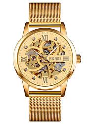 Недорогие -Скмей 9199 золотые механические часы полный скелет часы из нержавеющей стали