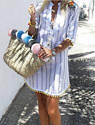 cheap -Women's Mini Blue Dress Casual Daily Sheath Print V Neck Print S M Slim