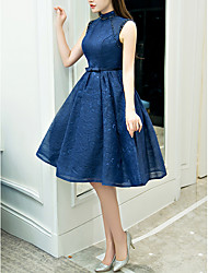 cheap -A-Line High Neck Knee Length Polyester Retro / Blue Cocktail Party / Homecoming Dress with Beading / Crystals 2020