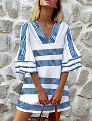 cheap -Women's Green Blue Dress Shift Striped V Neck S M