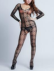 Недорогие -Жен. Аппликация Боди Ночное белье Однотонный Черный S M L