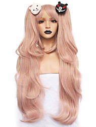 cheap -Synthetic Wig Curly Halloween Asymmetrical Wig Pink Long Pink Synthetic Hair 30 inch Women's Best Quality Pink