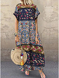 cheap -Women's Holiday Vacation Casual / Daily Maxi Loose Loose Dress - Floral Print Spring & Summer Wine Blushing Pink Navy Blue M L XL XXL