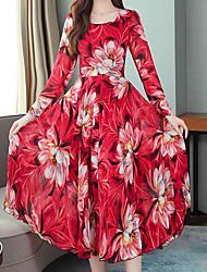 cheap -Women's Red Blue Dress Loose Print M L