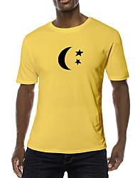 cheap -Men's Daily Sports Business / Basic T-shirt - Galaxy / Abstract / Cartoon Black & White, Print Black