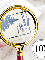 cheap -Portable Handheld 10X Magnifying Glass 80mm Retro Handle Magnifier Eye Loupe Glass