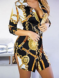 cheap -Women's White Black Dress A Line Geometric Deep V S M