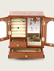 cheap -Jewelry Box - Wooden Dark Brown, Light Brown 21.5 cm 11 cm 26 cm