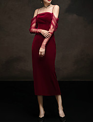 cheap -Sheath / Column Spaghetti Strap Tea Length Tulle / Velvet Convertible / Red Engagement / Formal Evening Dress with Sash / Ribbon / Ruched 2020