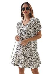 cheap -Women's Sheath Dress - Geometric Black White S M L XL