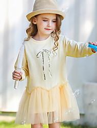 Недорогие -Дети (1-4 лет) Девочки Контрастных цветов Платье Зеленый