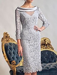 cheap -Sheath / Column Mother of the Bride Dress Elegant Bateau Neck Knee Length Lace Polyester Long Sleeve with Appliques 2021