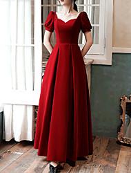 cheap -A-Line Retro Prom Formal Evening Dress Sweetheart Neckline Short Sleeve Floor Length Velvet with Pleats 2020
