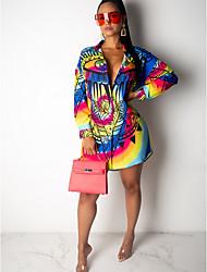 cheap -Women's Asymmetrical Blue Dress Loose Geometric Shirt Collar S M Loose