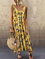 cheap -Women's Swing Dress Maxi long Dress Sleeveless Print Basic Summer Hot Casual Boho Blue Red Yellow Khaki Green S M L XL XXL 3XL 4XL 5XL