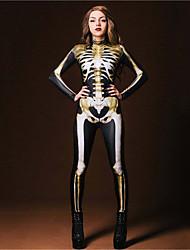 cheap -Zentai Suits Catsuit Skin Suit Skeleton / Skull Adults' Cosplay Costumes Ultra Sexy Men's Women's Black Skull Halloween Carnival Masquerade / Leotard / Onesie