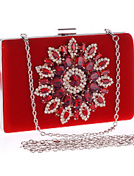 cheap -Women's Crystals / Chain Polyester Evening Bag Solid Color Black / Red