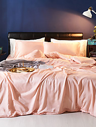 cheap -Duvet Cover Sets 4 Piece Polyester / Viscose Solid Colored Light Pink Printed Simple