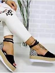cheap -Women's Sandals Wedge Sandals Comfort Shoes Summer Flat Heel Peep Toe Casual Comfort Daily Geometric PU Walking Shoes White / Black / Pink