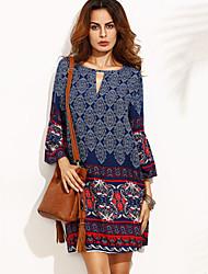 cheap -Women's Blue Dress Boho Daily Going out Chiffon Plaid Flare Cuff Sleeve Deep V Black & Red Print M L Loose