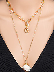 cheap -Women's Pendant Necklace Necklace Layered Necklace Stacking Stackable Shell Simple Classic Rustic Bohemian Pearl Chrome Shell Gold 60 cm Necklace Jewelry 1pc For Anniversary Street Birthday Party