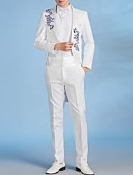 cheap -Men's Suits, Floral Notch Lapel Polyester Black / White / Blue