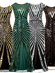 cheap -The Great Gatsby Vintage 1920s Flapper Dress Dress Party Costume Women's Sequin Costume Black / Golden / Silver Vintage Cosplay Party Sleeveless