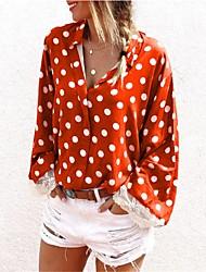 cheap -Women's Polka Dot Lace Trims Shirt Daily Shirt Collar Black / Purple / Red / Khaki