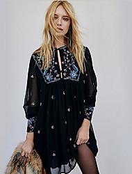 cheap -Women's Black Dress Skater Print V Neck S M