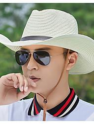 Недорогие -Муж. Классический Соломенная шляпа Солома,Однотонный Желтый Коричневый Бежевый