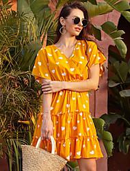 cheap -Women's Yellow Dress A Line Print V Neck S M