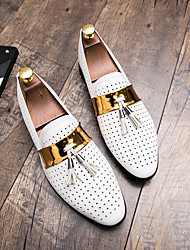cheap -Men's Leather Spring & Summer Business / Casual Loafers & Slip-Ons Walking Shoes Breathable Black / White