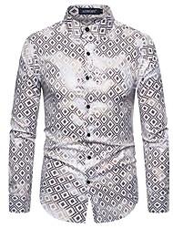 cheap -Men's Party Daily Basic Shirt - Check Black & White / Flamingos, Print Black