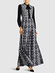 cheap -Women's Plus Size Holiday Vacation Plus Size Maxi A Line Swing Dress - Geometric Spring & Summer Black S M L XL
