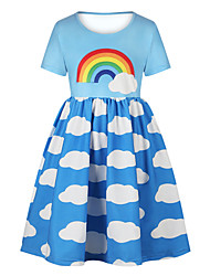 cheap -Kids Girls' Basic Cute Sun Flower Floral Color Block Rainbow Print Short Sleeve Knee-length Dress Light Blue