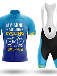 cheap -21Grams Men's Short Sleeve Cycling Jersey with Bib Shorts Spandex Polyester Blue Stripes Bike Clothing Suit UV Resistant Breathable 3D Pad Quick Dry Sweat-wicking Sports Stripes Mountain Bike MTB
