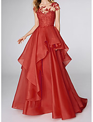 cheap -Ball Gown Elegant Red Wedding Guest Prom Dress Illusion Neck Sleeveless Sweep / Brush Train Polyester with Tier Appliques 2020