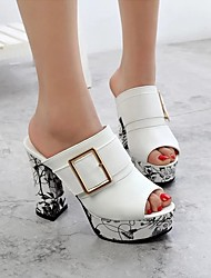cheap -Women's Heels Chunky Heel Peep Toe PU Spring & Summer Red / White / Black