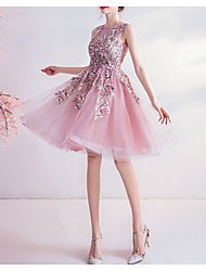 cheap -A-Line Jewel Neck Knee Length Tulle Bridesmaid Dress with Appliques